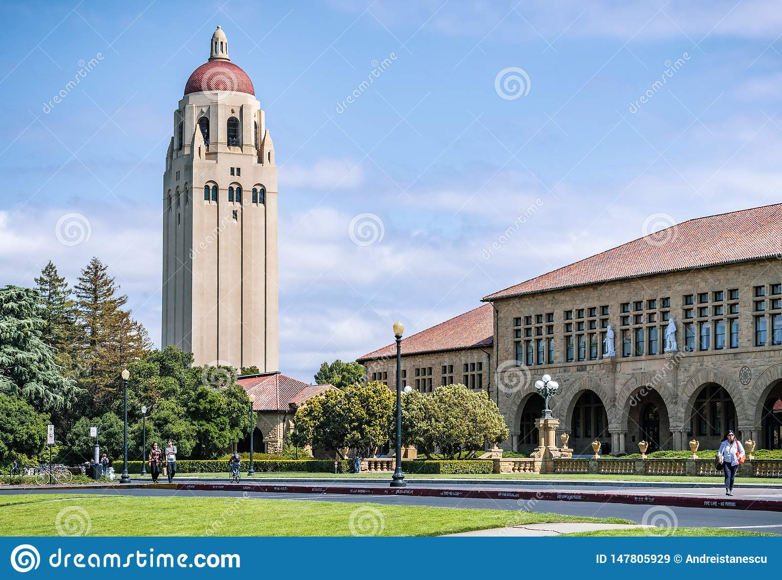 May 9, 2019 Palo Alto / CA / USA - Exterior view of the Main Quad at Stanford University
