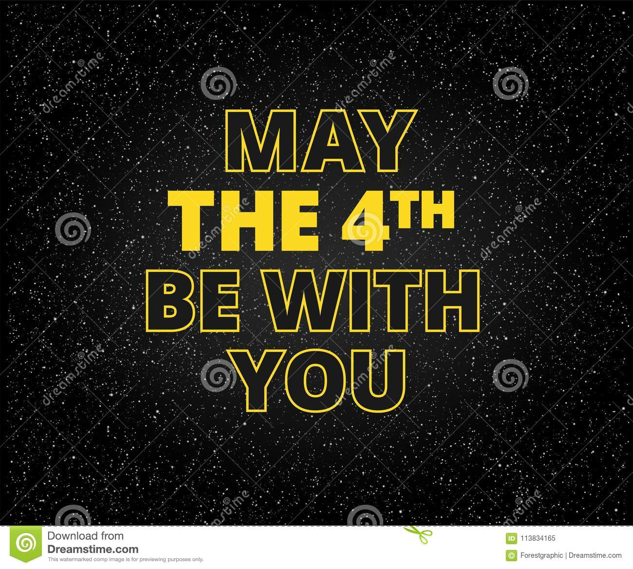 May Th Be You Holiday Background Yellow Letters Starry Black Sky The With On
