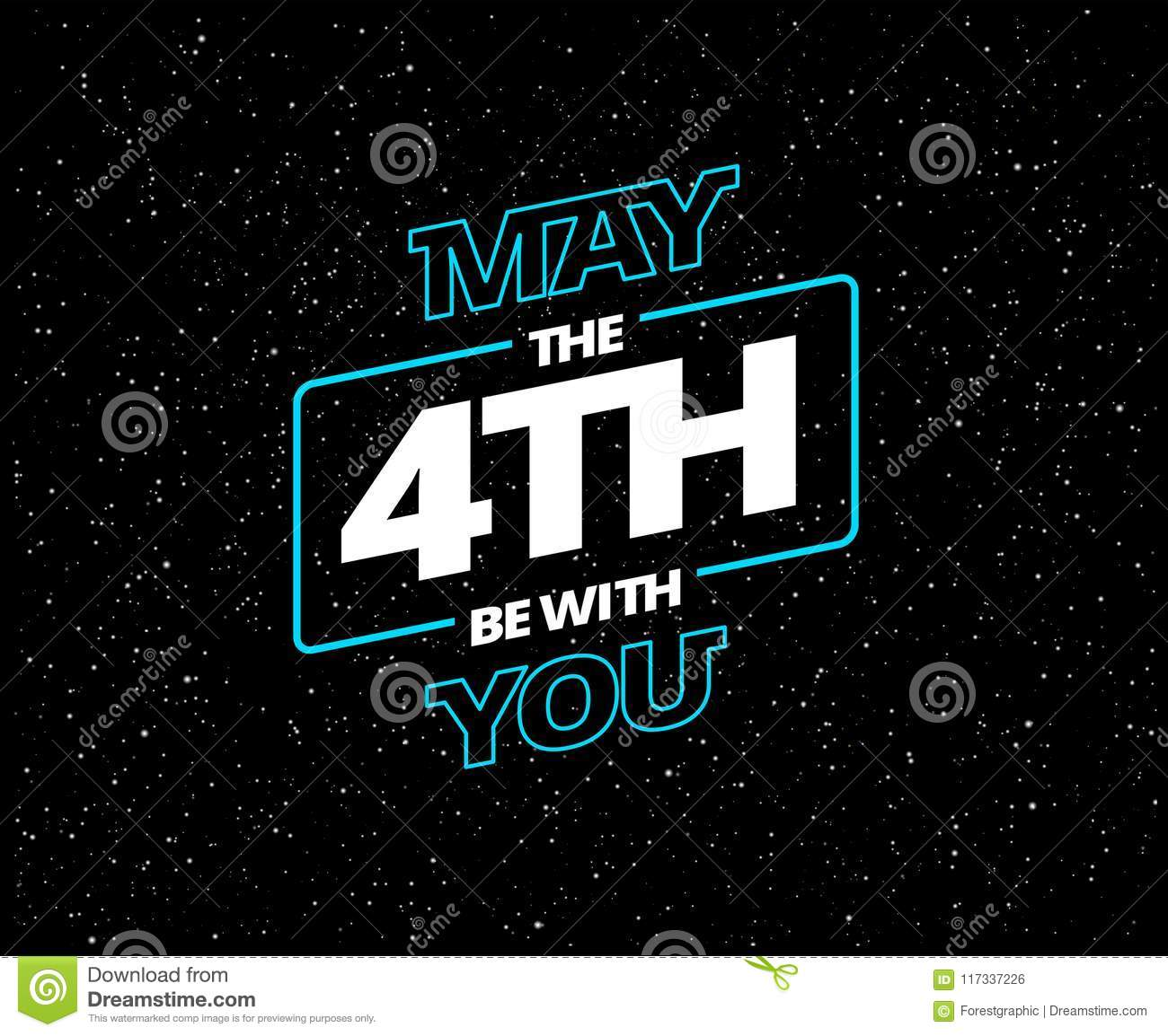 May Th Be You Holiday Greeting Card Vector Blue White Letters Black Starry Night Sky The With And