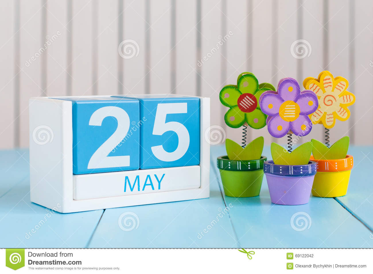 May Th Image May Wooden Color Calendar White Background Flowers Spring Day Empty Space Text International Missing on spiral calendar border