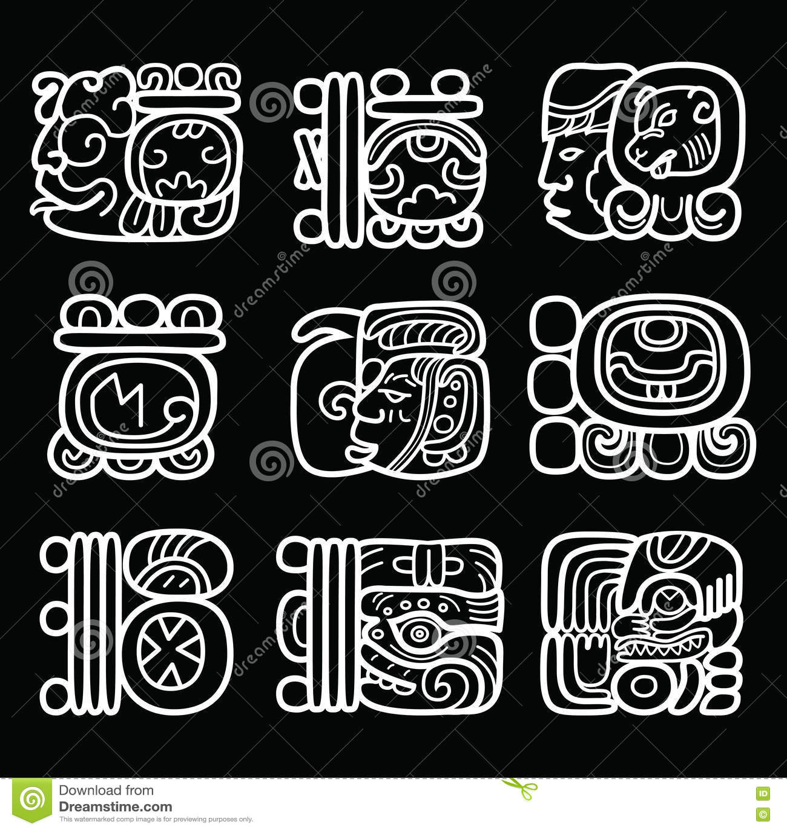 Maya Glyphs, Writing System And Language Vector Design On Black