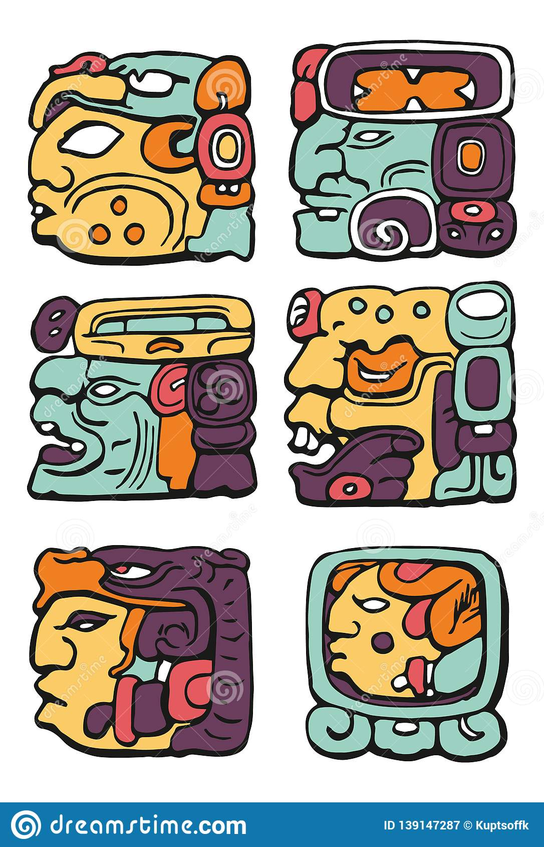 Maya Sign Coloured Icon Pack Stock Illustration