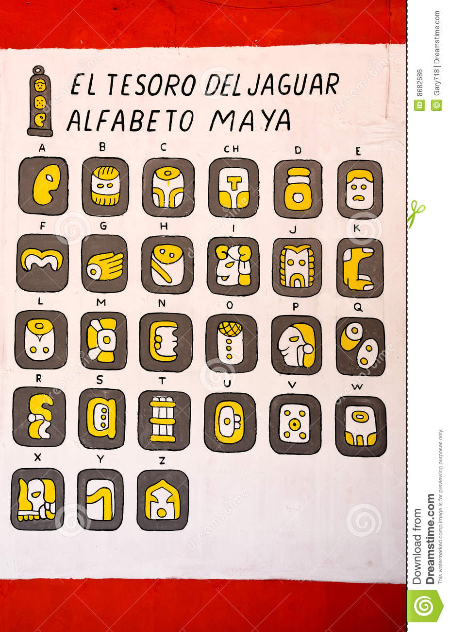 Mayan Hieroglyphics Alphabet For Kids Mayan alphabets on the wall of