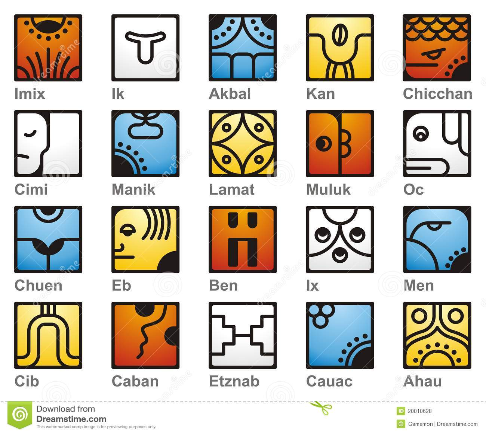 Mayan Calendar 20 Solar Seales Illustration 20010628 Megapixl
