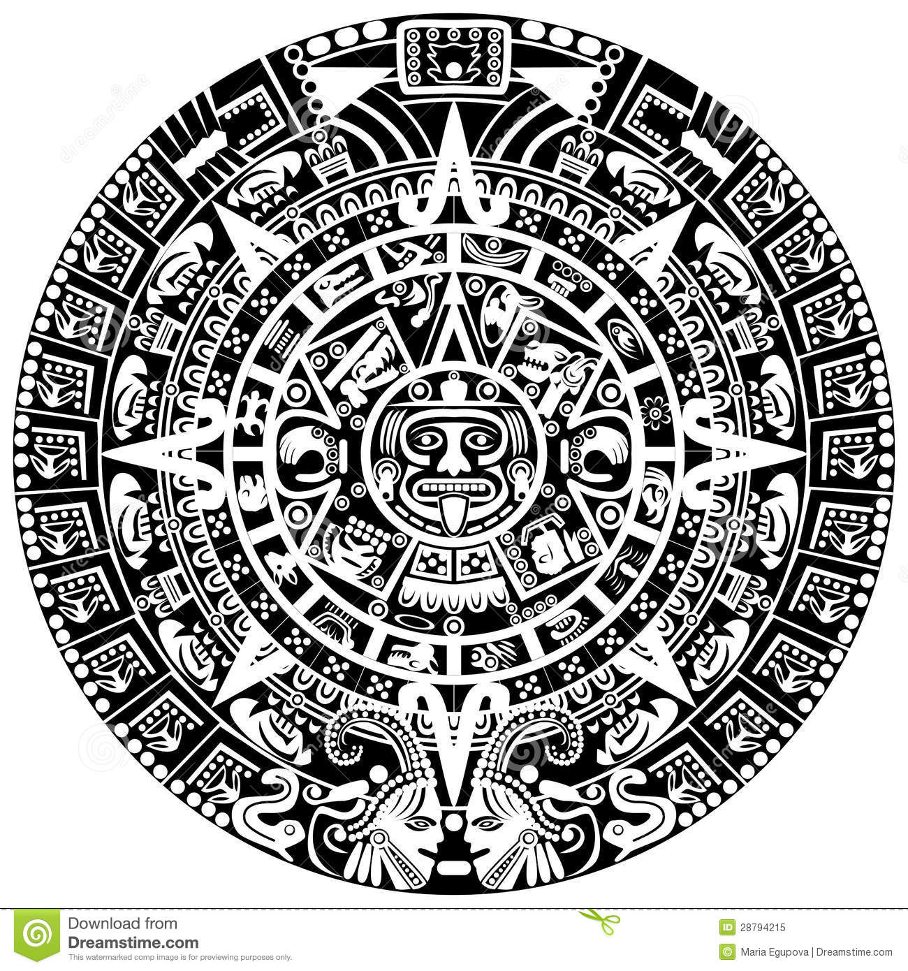Calendario Maya Vector.Mayan Calendar Stock Vector Illustration Of Traditional