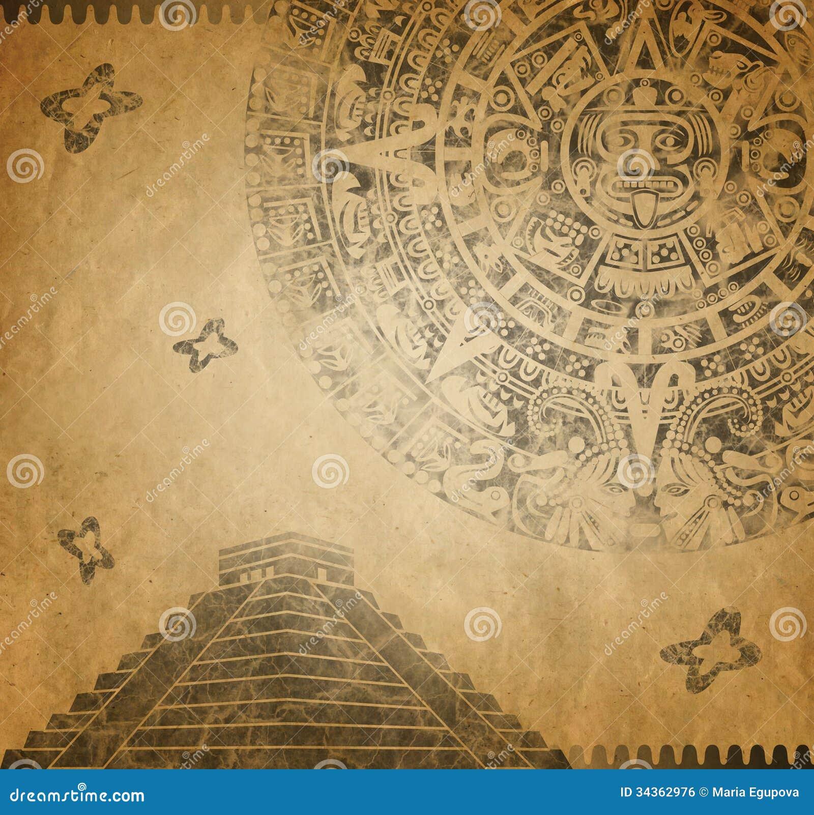 Mayan Calendar and pyramid stock illustration. Image of ...