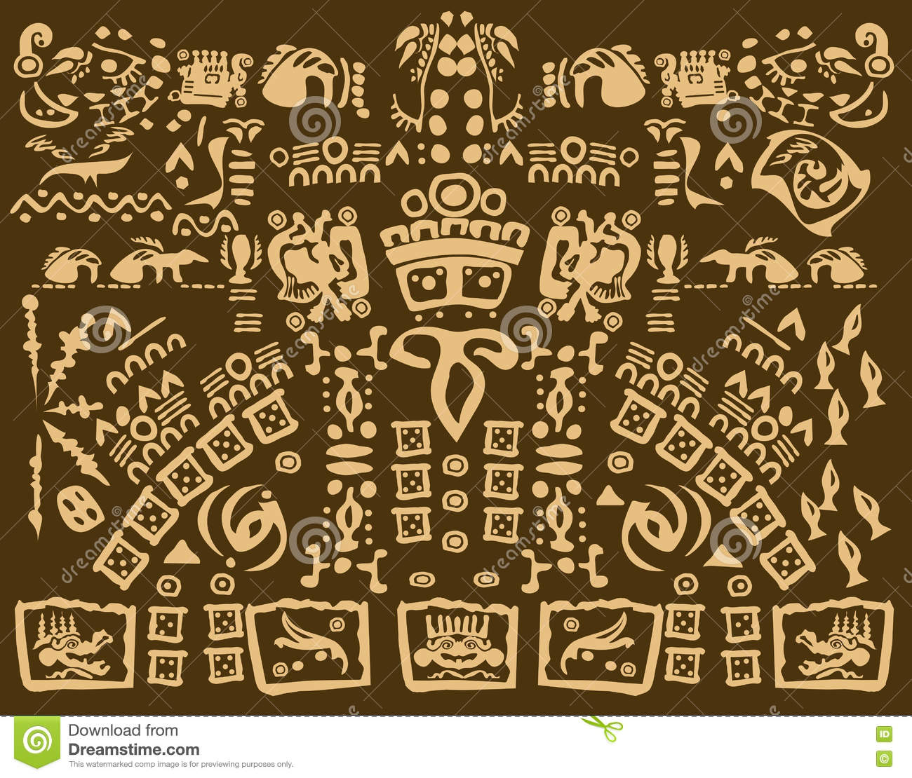 Mayan Drawing Of Ancient Symbols Stock Vector Illustration Of