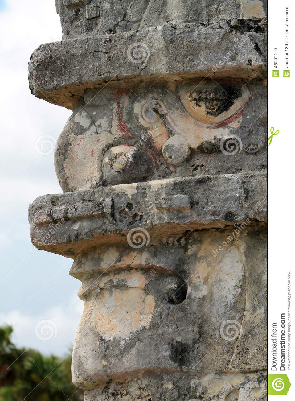 Mayan god stock image of portrait carved monument
