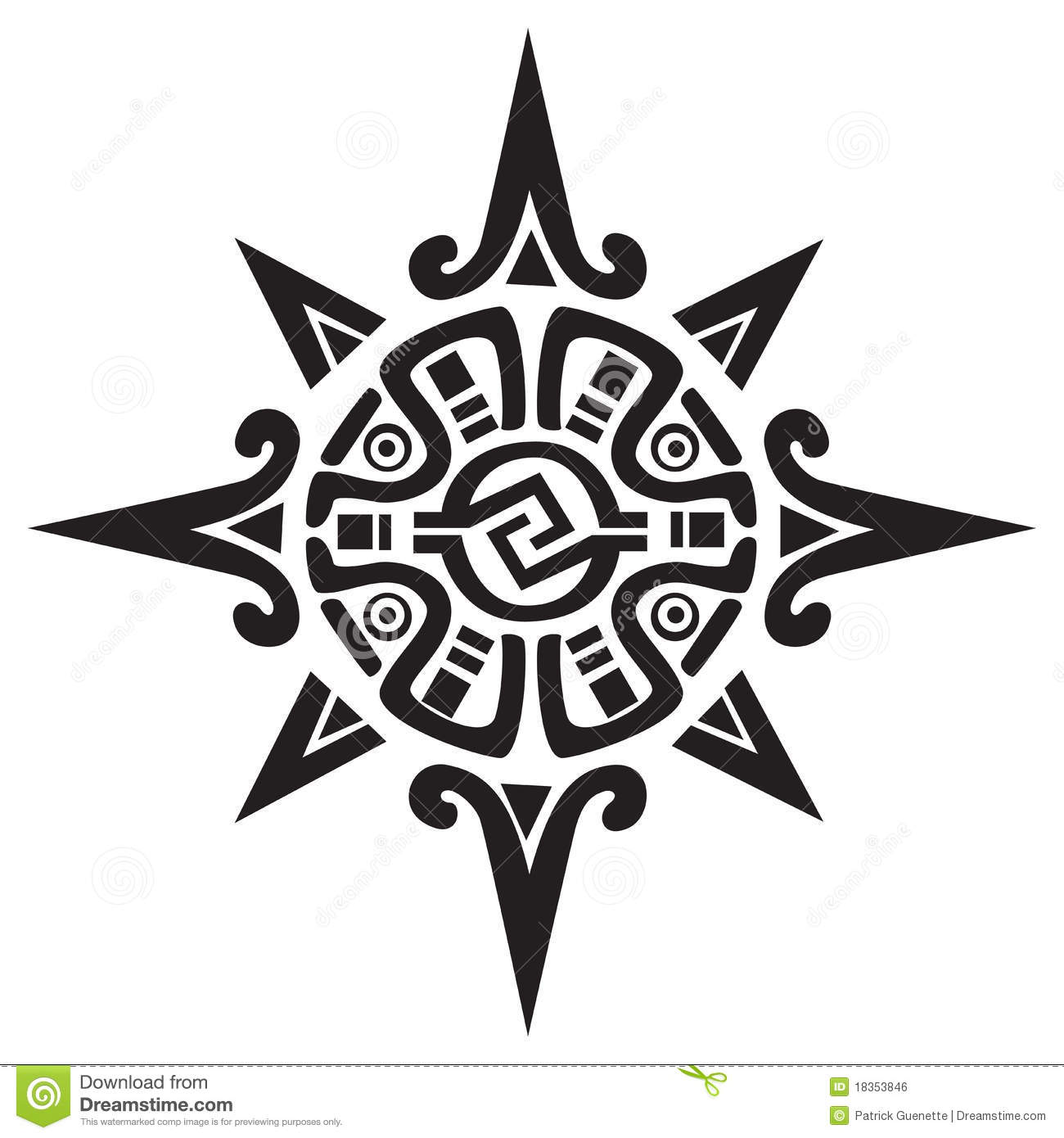 47f2471bc03eb Mayan or Incan symbol of a sun or star, isolated on white. Great for tattoo  or artwork