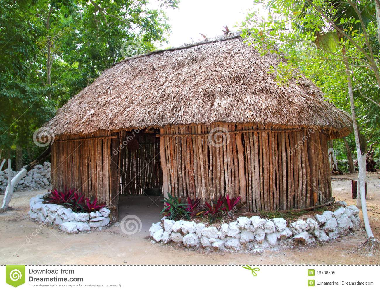 Mayan mexico wood house cabin hut palapa stock image for Wood house images