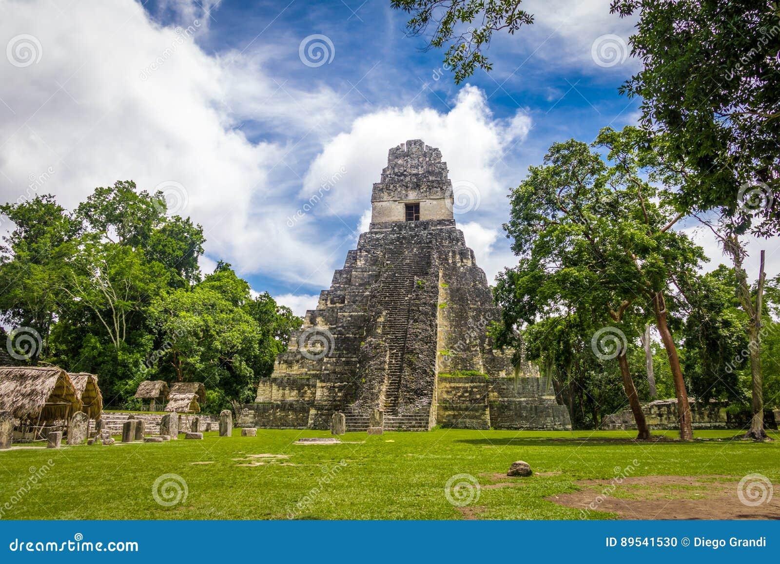 Mayan Tempel I Gran Jaguar bij het Nationale Park van Tikal - Guatemala