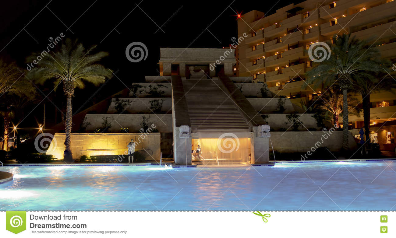 a mayan waterscape, cancun resort, las vegas editorial photo