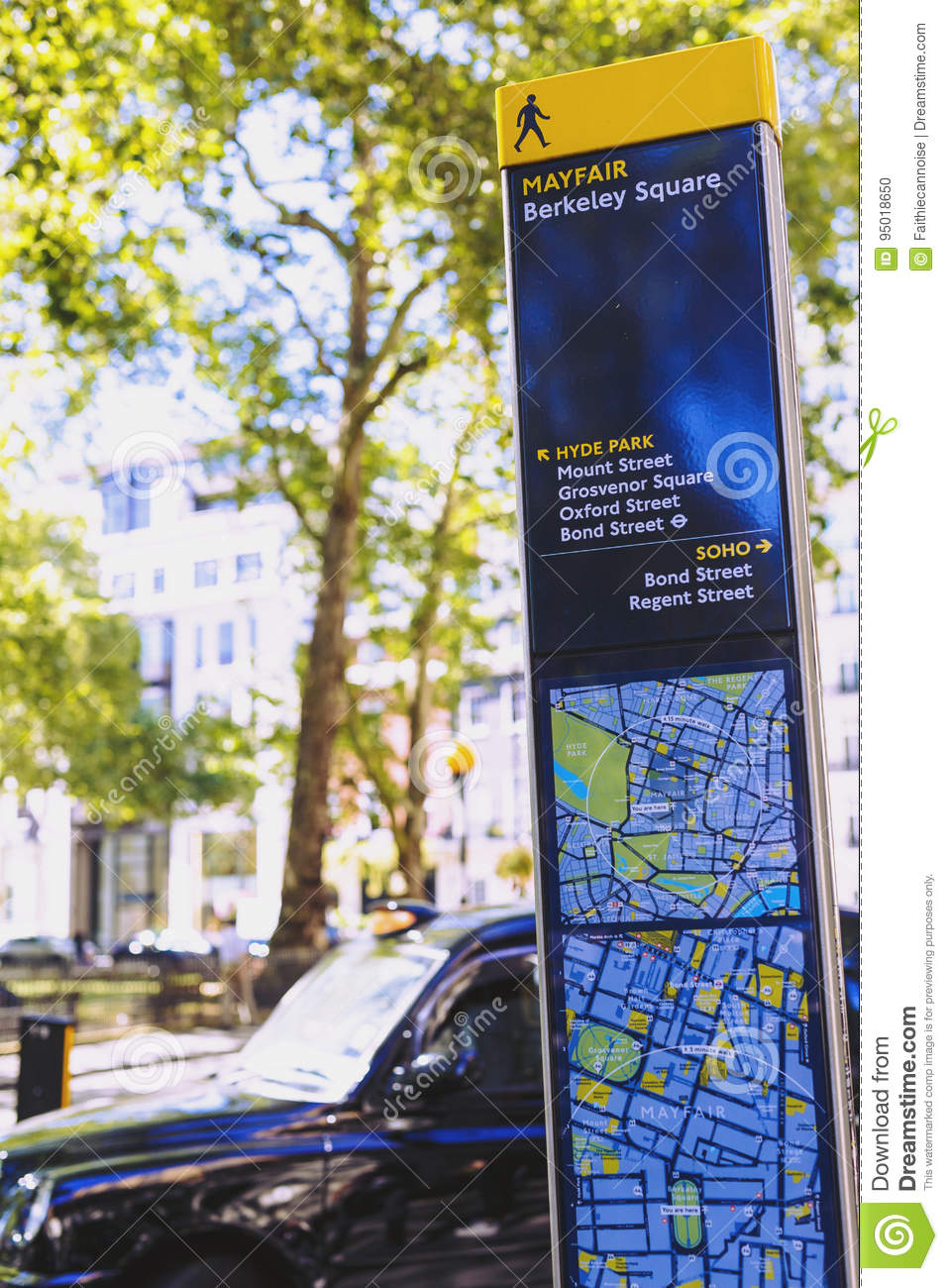 London City Centre Map.Mayfair Road Sign With Map In London City Centre Editorial Image