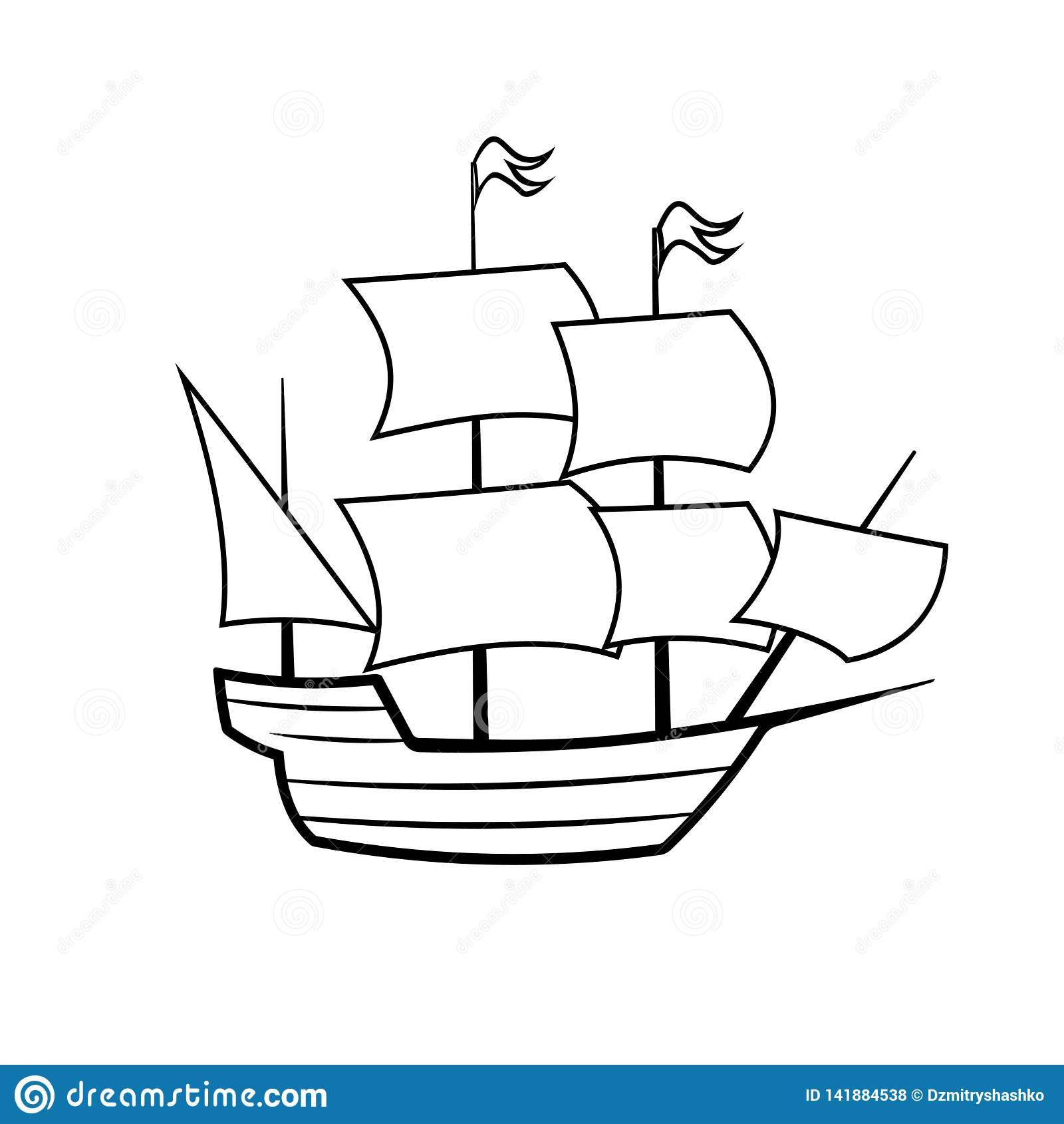 Mayflower Ship Outline Icon Stock Vector - Illustration of ...