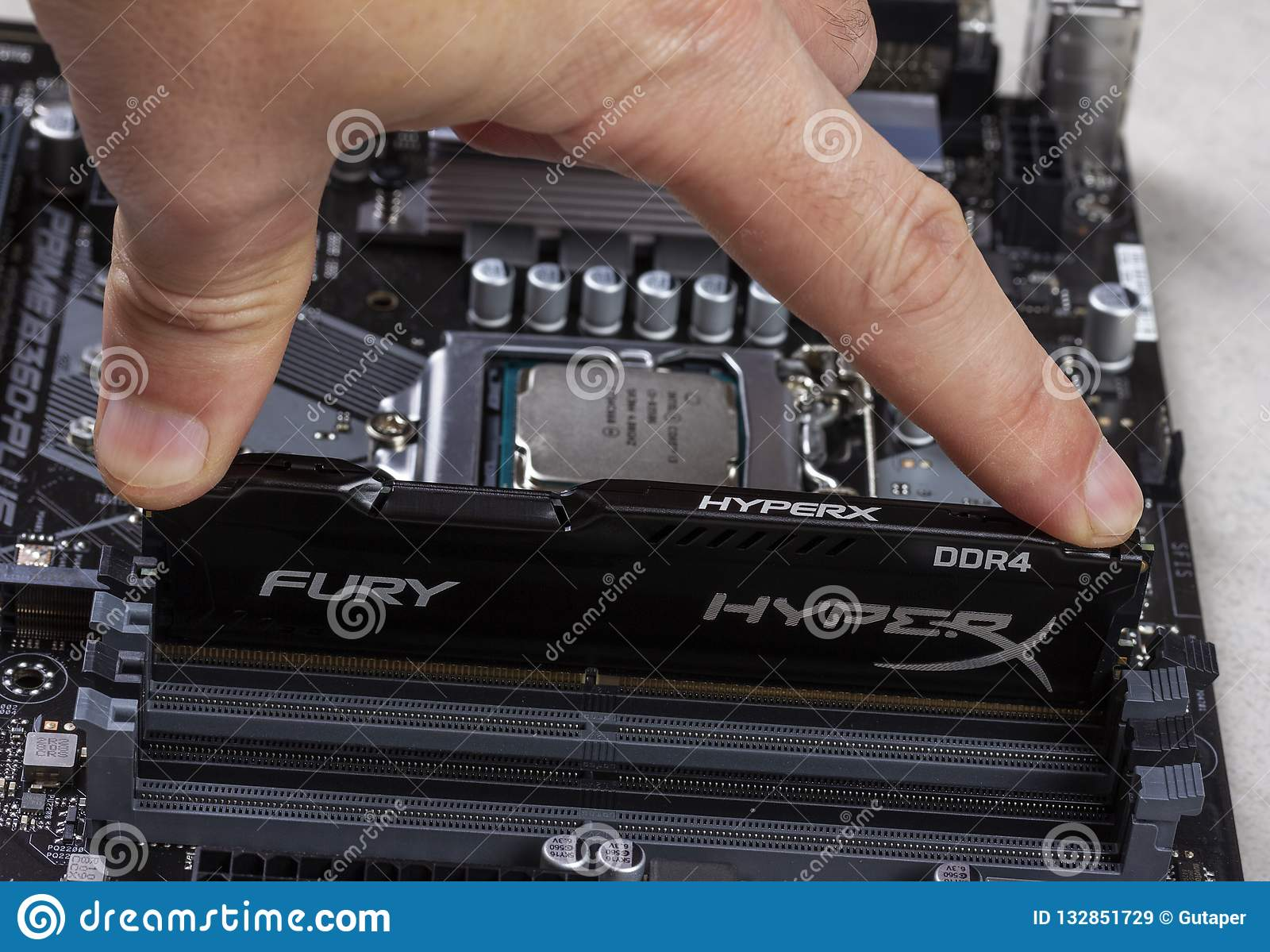 Man Installs An Ddr 4 Dimm 16 Gb Kingston Hyperx Fury Memory Ram Module In The Slot On The Motherboard Closeup Editorial Stock Image Image Of Capacity Closeup 132851729
