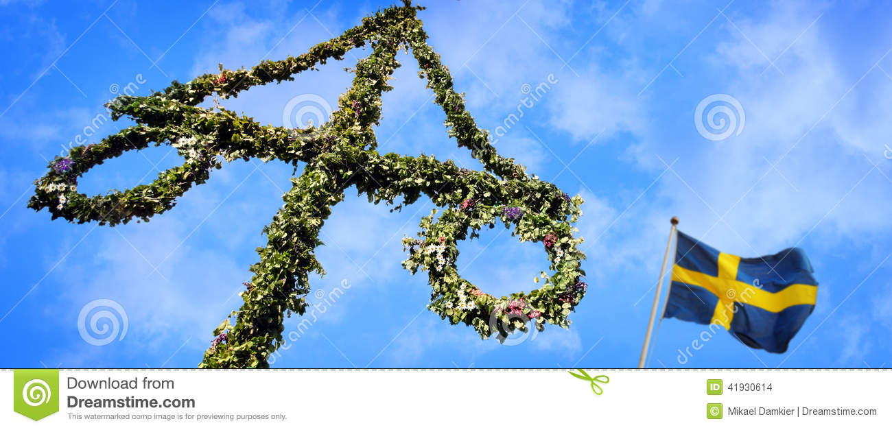 Maypole Decorated With Swedish Flag Stock Photo Image Of