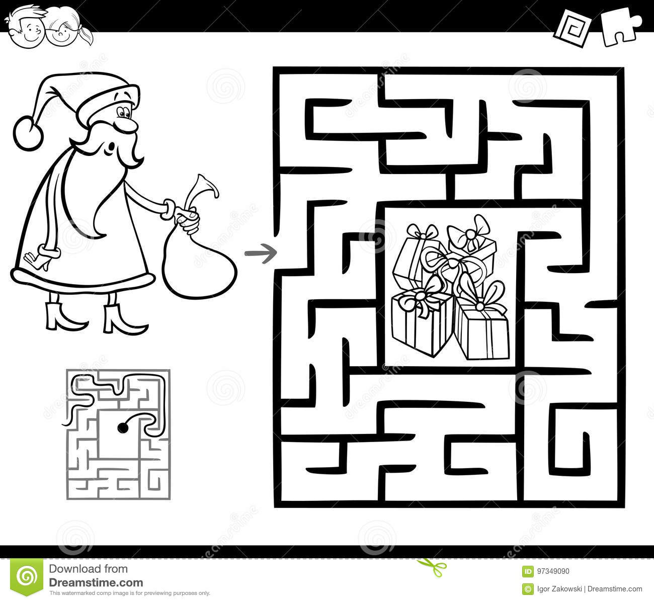 black and white cartoon illustration of education maze or labyrinth game for children with christmas santa claus coloring page