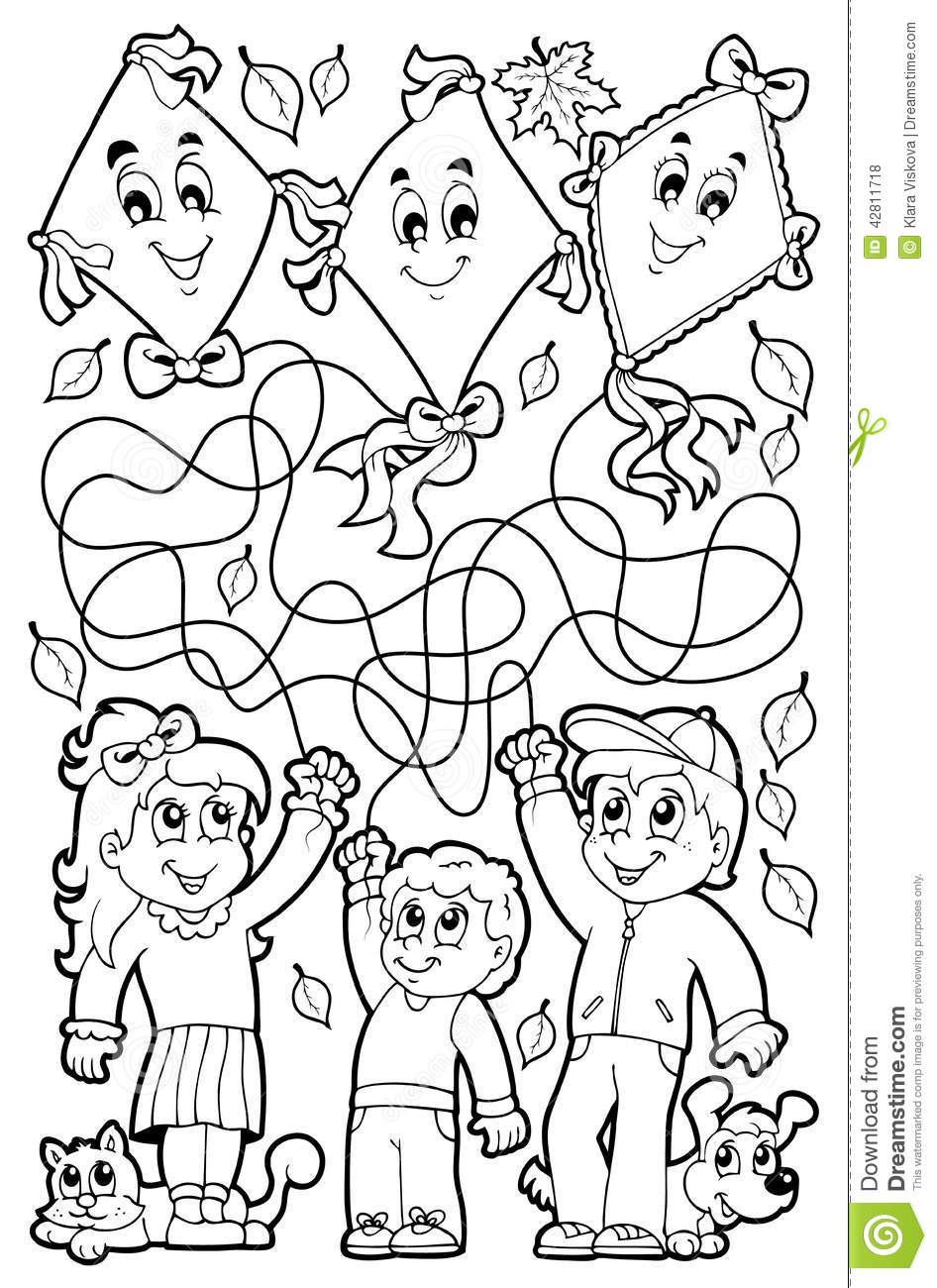 maze 9 coloring book with children stock vector
