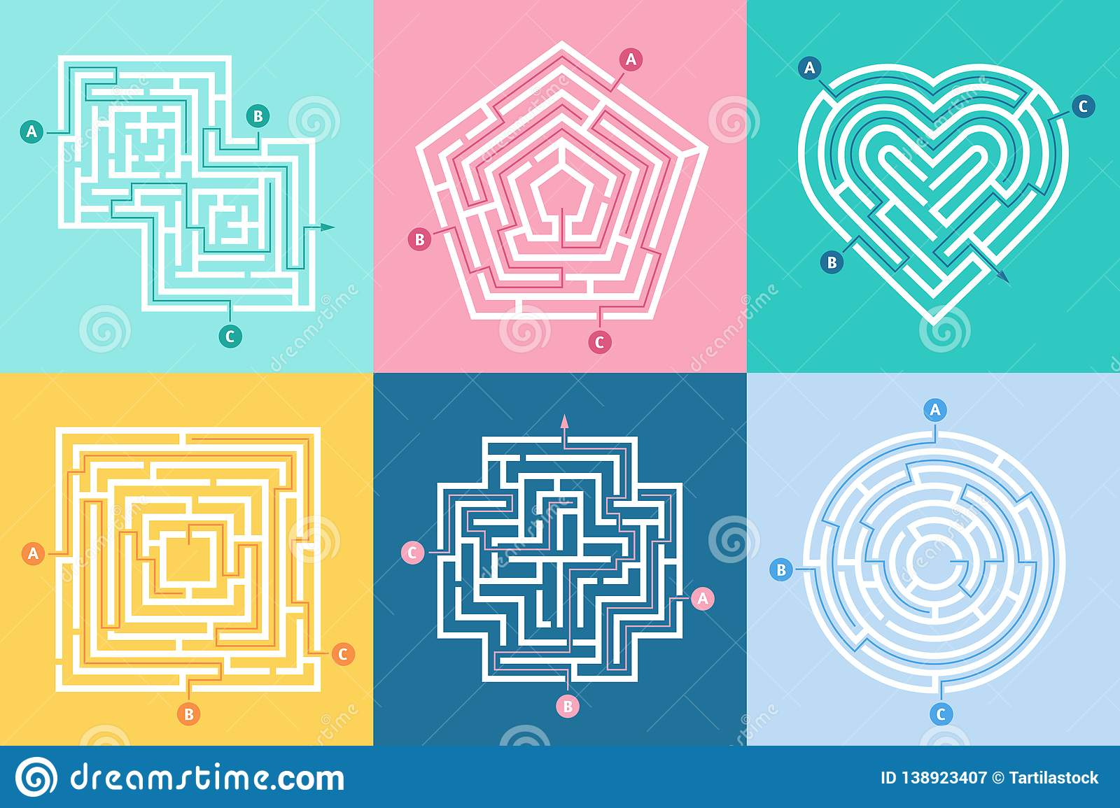 Maze entrance. Find right way, kids labyrinth game and choice mazes entrances letters vector illustration set