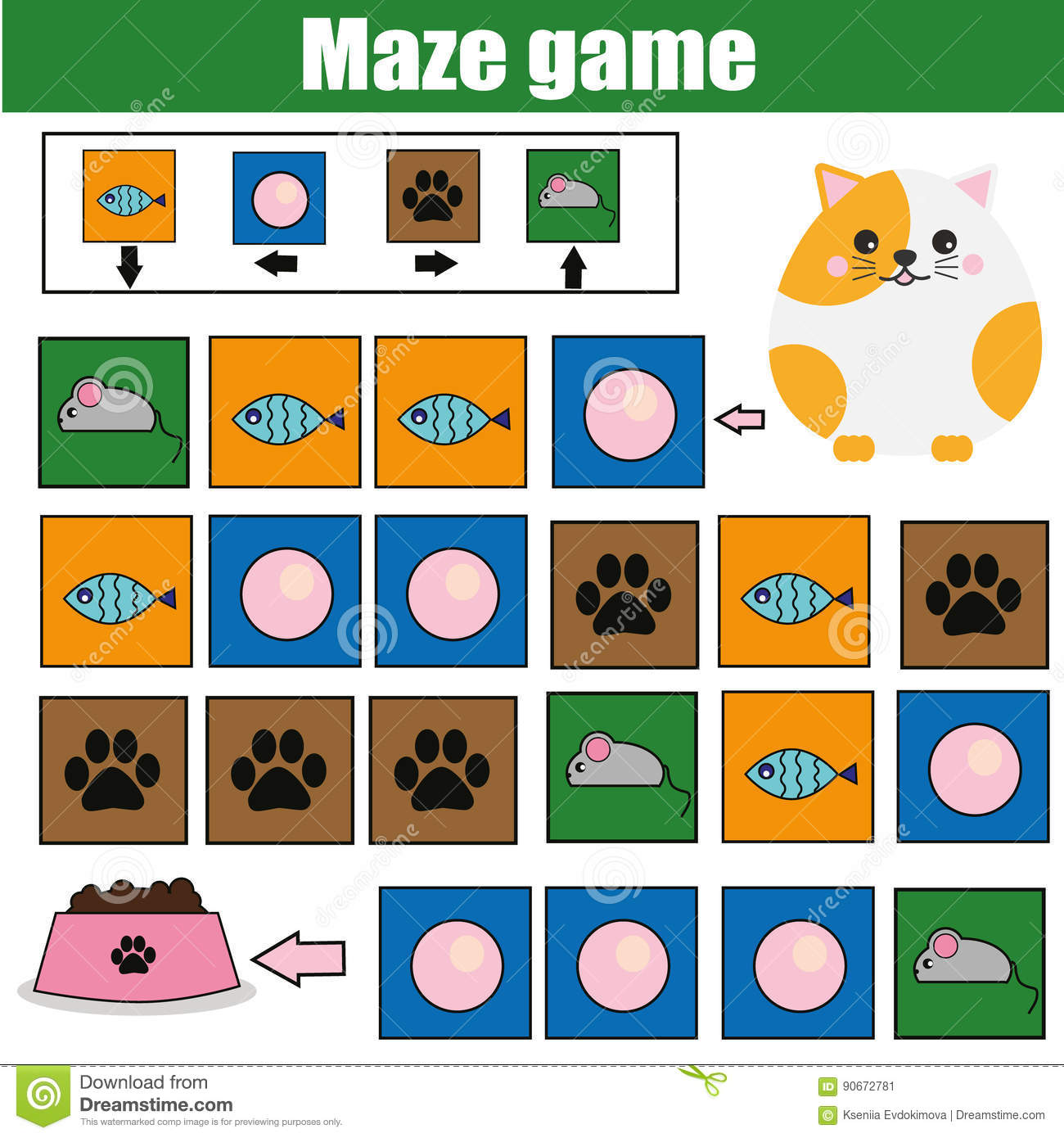 kids activity sheet logic labyrinth with code navigation