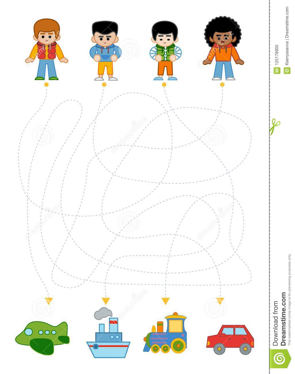 Maze Game For Children, Boys And Different Types Of Transport ...