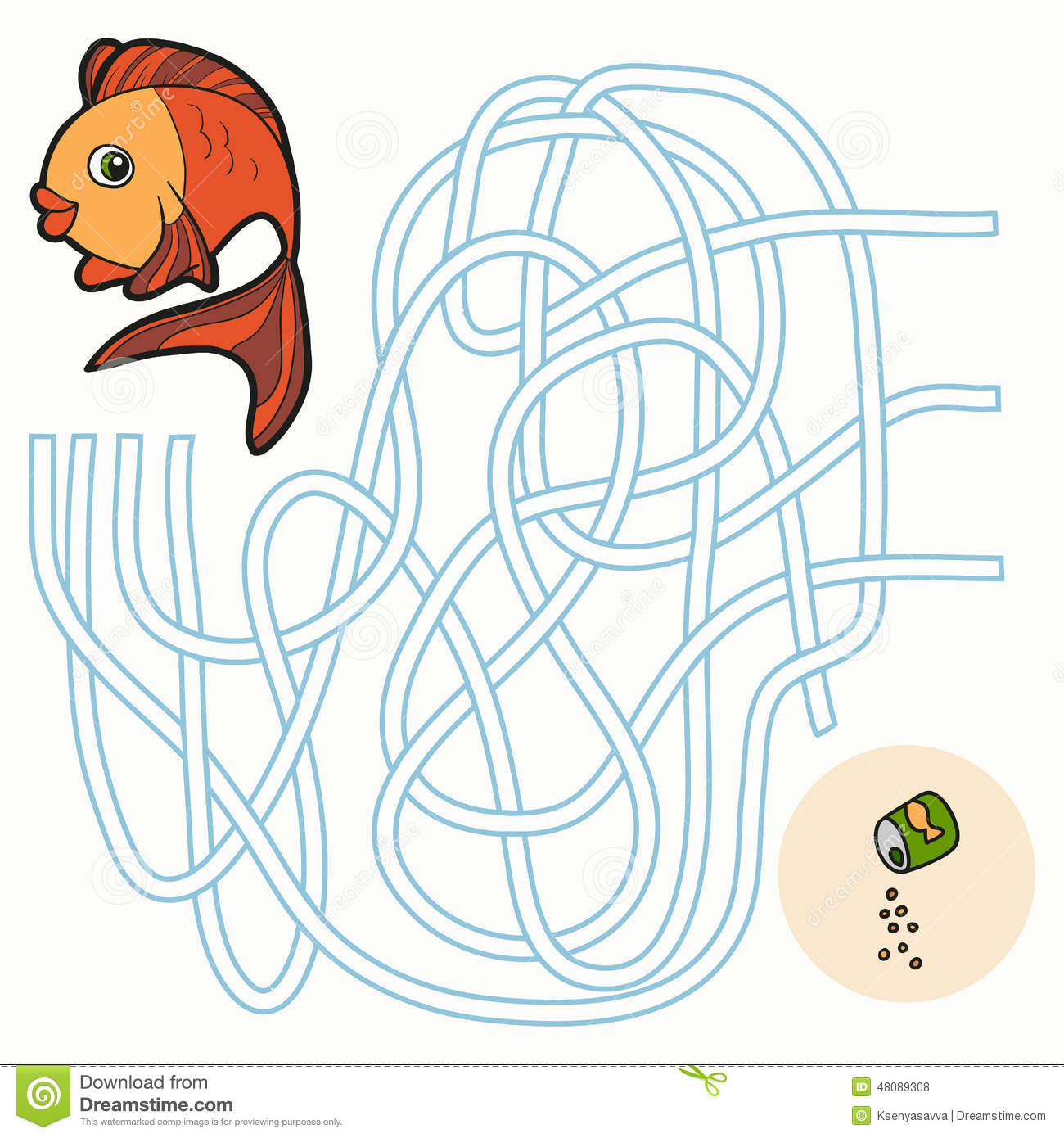 Maze game for children fish stock vector image 48089308 for Do kids need a fishing license