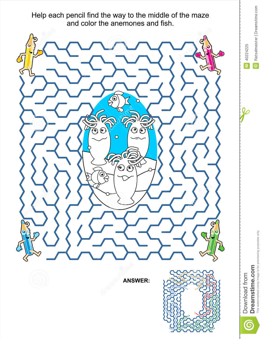 Maze Game And Coloring Page - Anemones And Fish Stock Vector ...