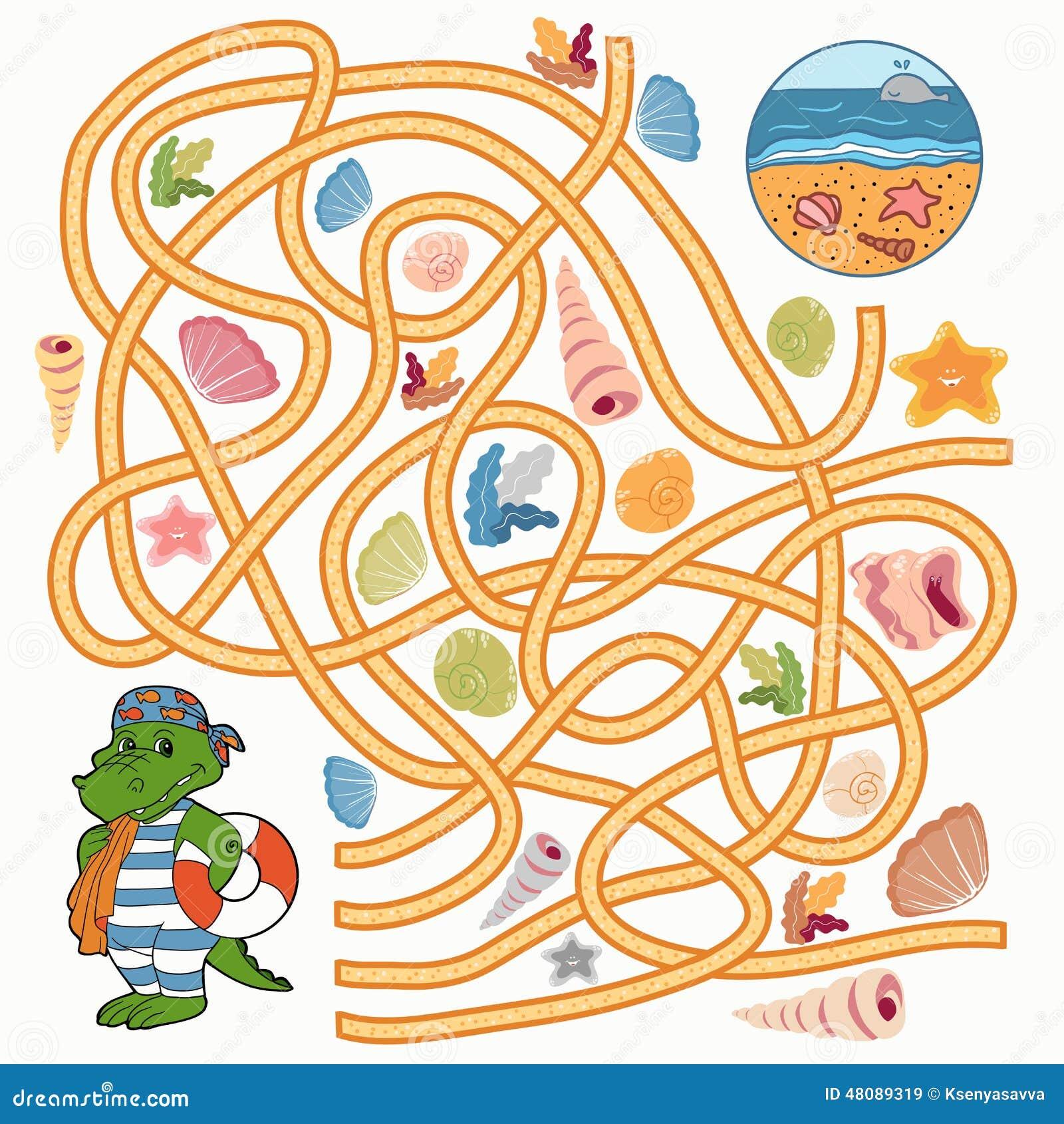 Maze Game (crocodile) ... Summer Camp Vector