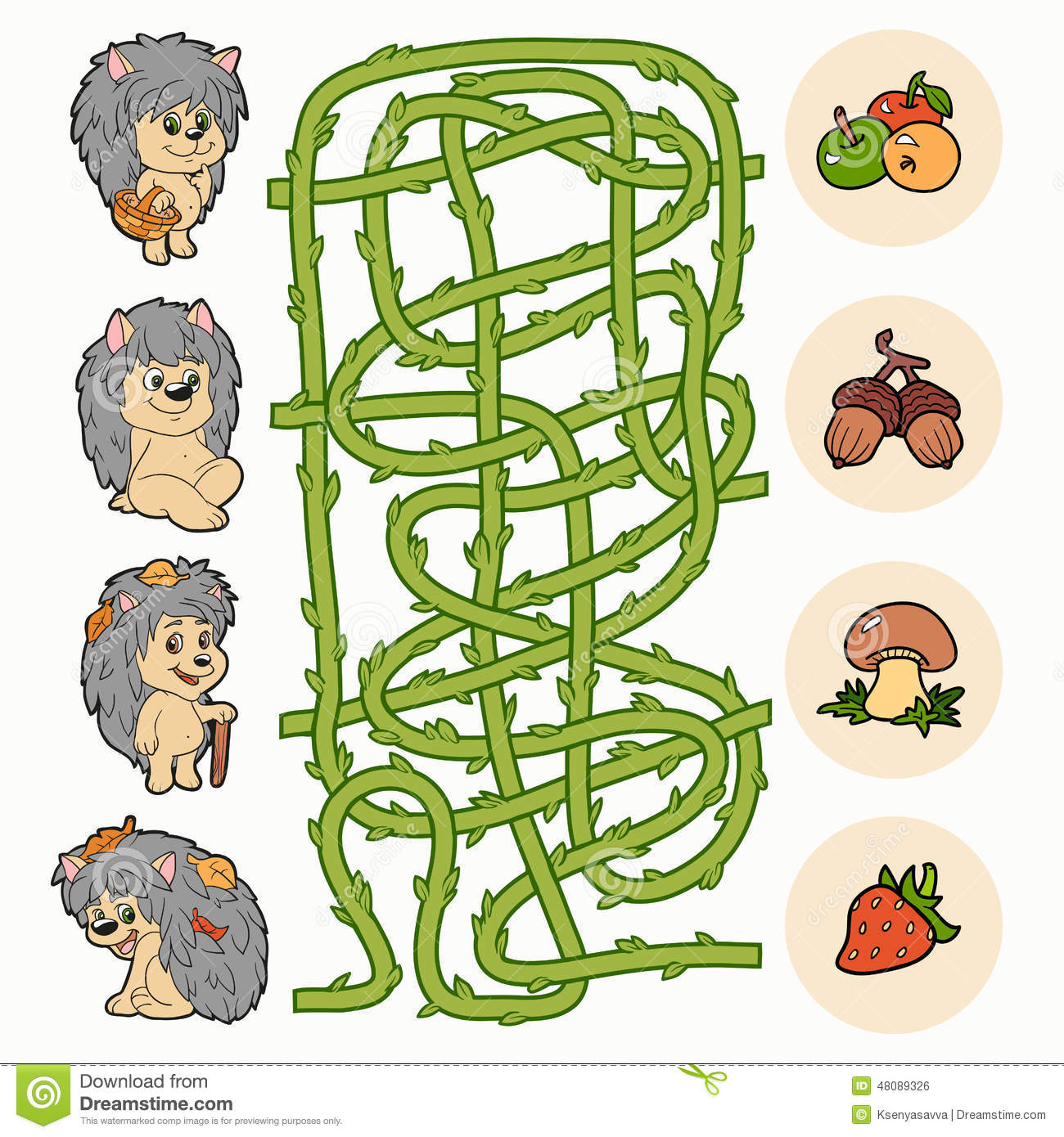 Maze game help hedgehogs to find food stock vector image 48089326