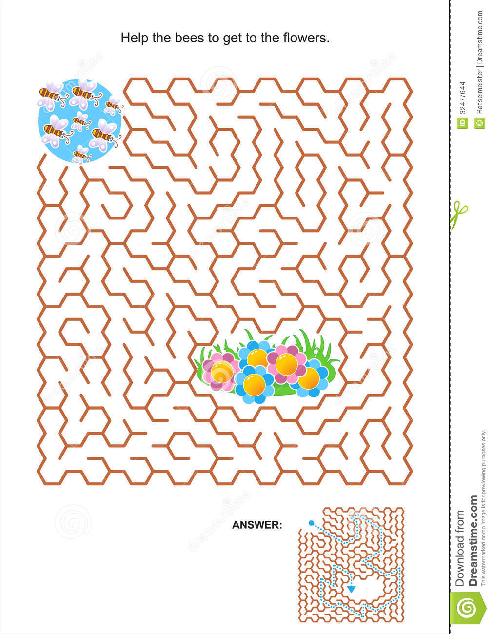 Maze Game For Kids - Bees And Flowers Stock Images - Image: 32477644