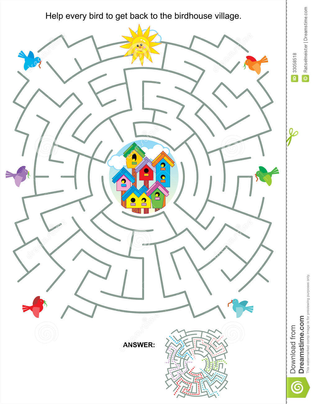 Maze Game For Kids - Birds And Birdhouses Royalty Free Stock Photos ...