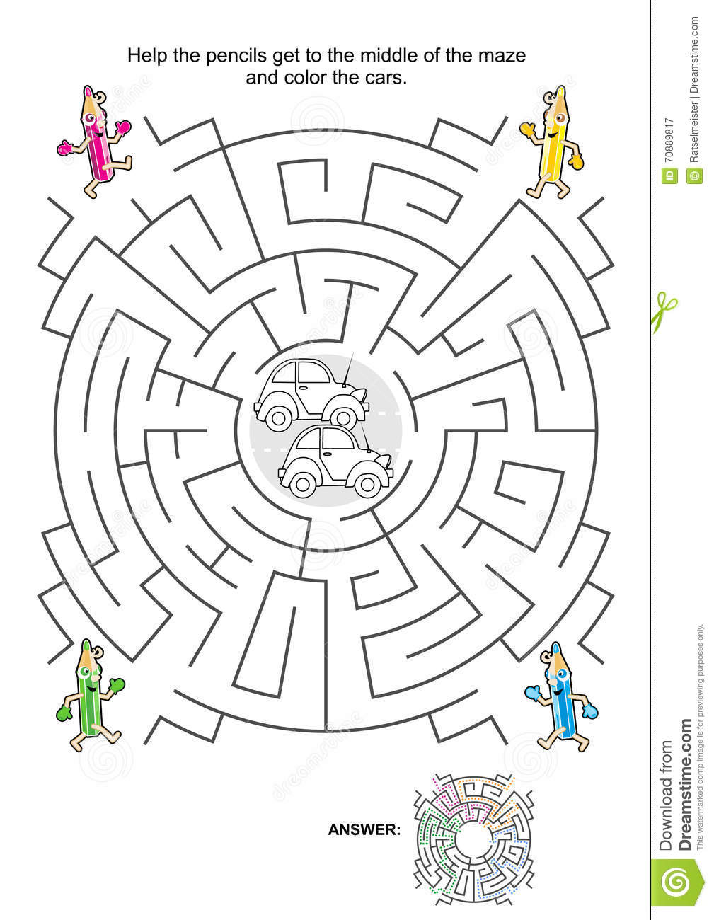 Stock Illustration Maze Game Kids Cars Pencils Coloring Help Get To Middle Color Answer Included Image70889817 on Homeschooling Worksheets For Kindergarten