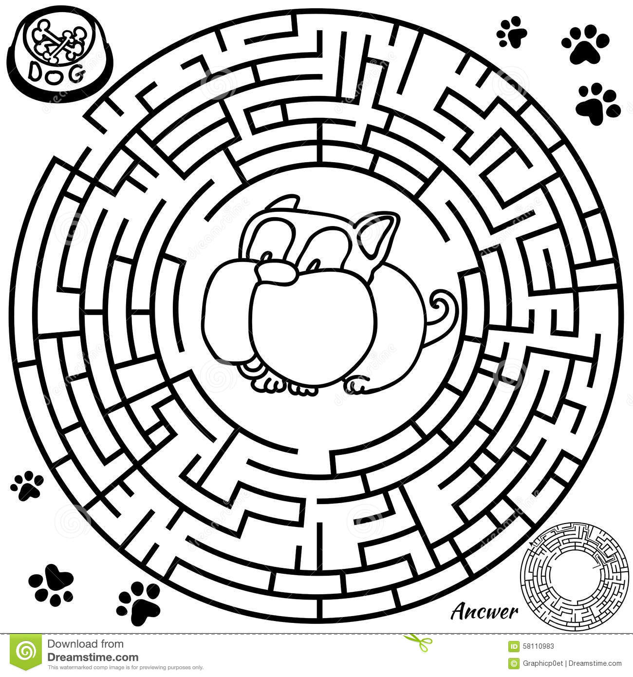 Funny Maze Game for kids. Maze or Labyrinth Game for Preschool ...