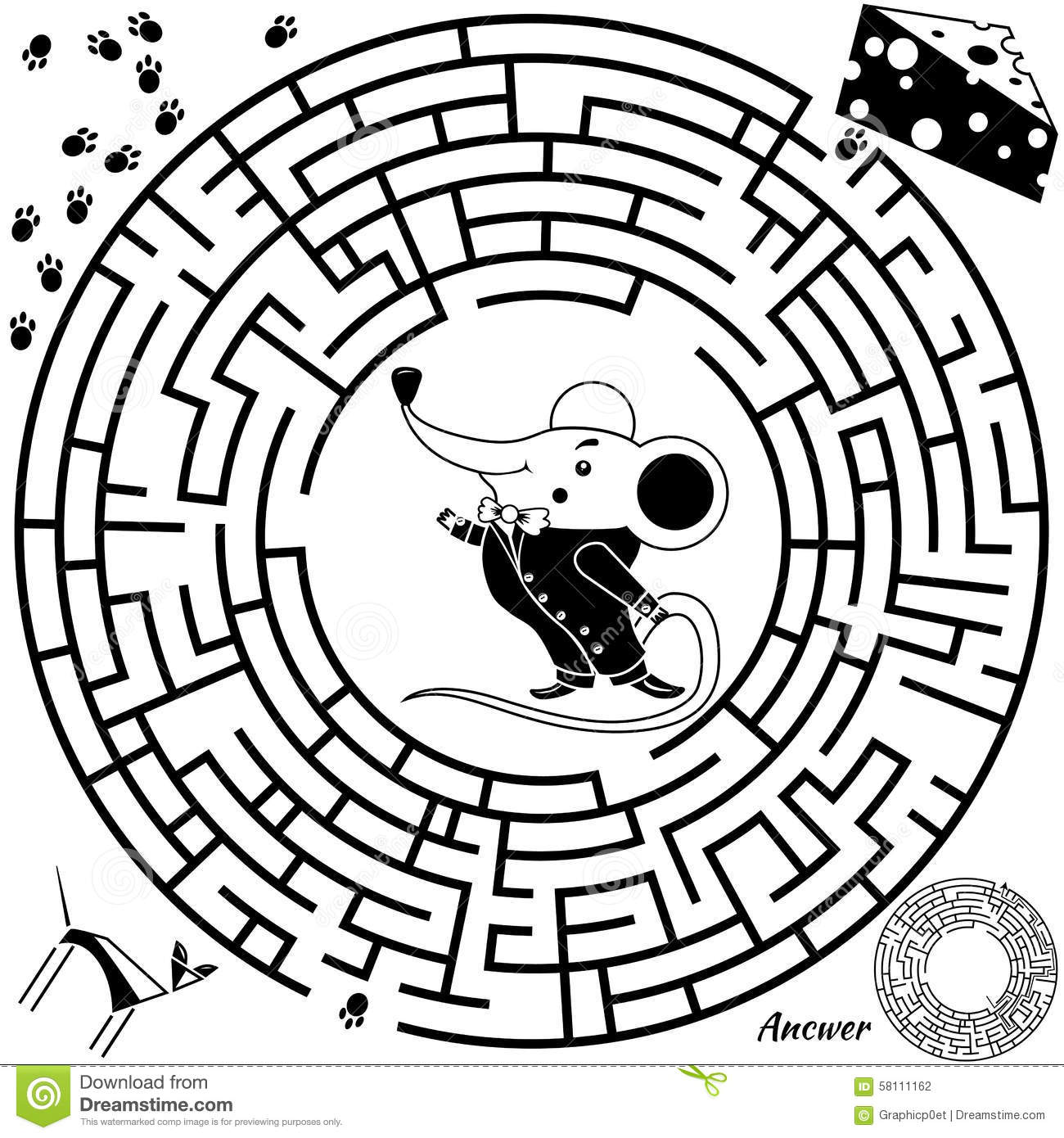 Maze Game For Kids Stock Vector Illustration Of Easy