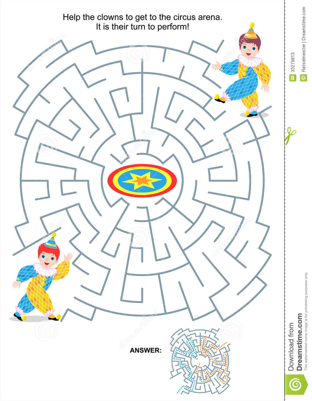 Maze Game For Kids Little Clowns Stock Photos Image 33279813