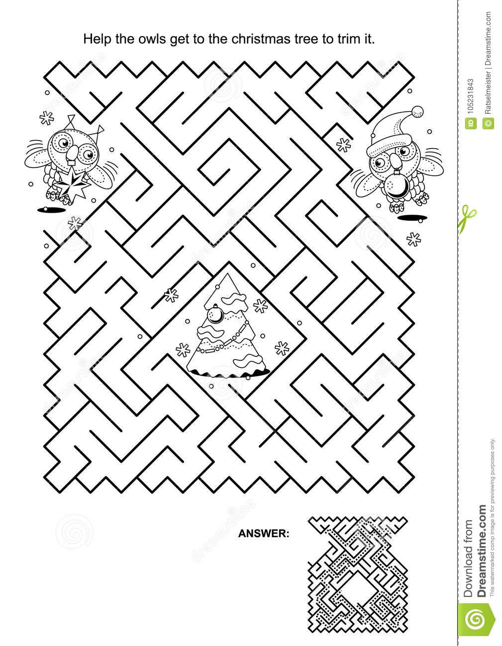 maze game for kids owls trim the christmas tree