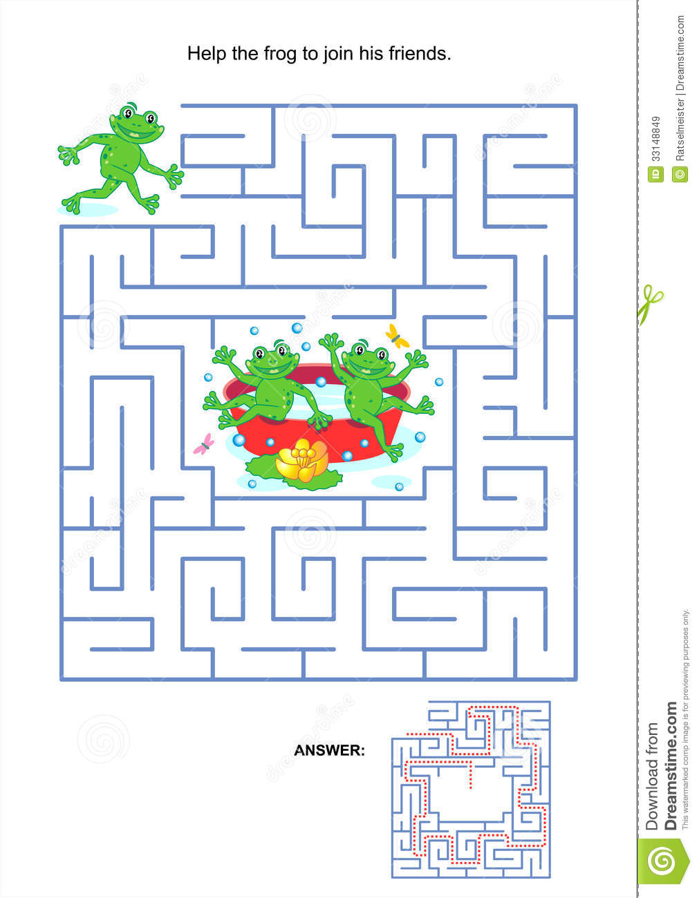 Maze Game For Kids Playful Frogs Stock Vector Illustration Of Clipart Kids 33148849