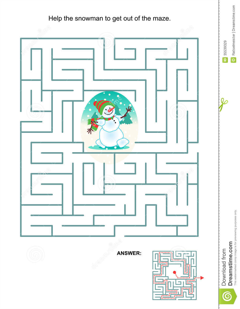 Maze game or activity page for kids: Help the snowman to get out of ...