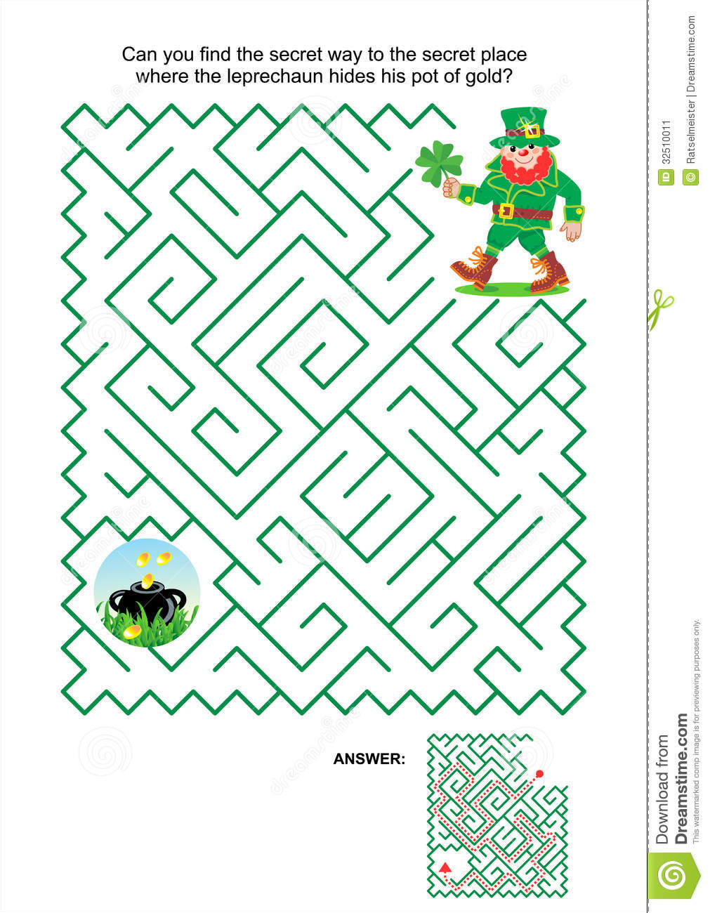 St. Patrick's Day themed maze game or activity page: Can you find the ...