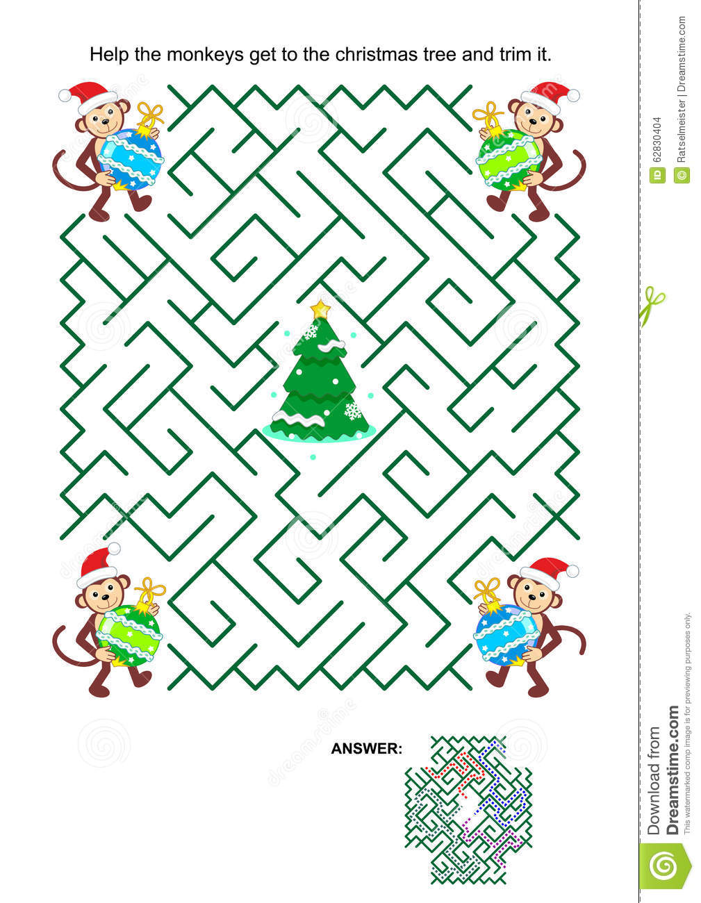 Maze game with monkey Santa helpers, baubles and christmas tree