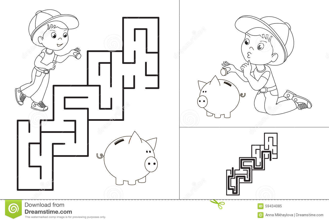 Maze Game One Cartoon Baby Boy Stock Vector Illustration Of