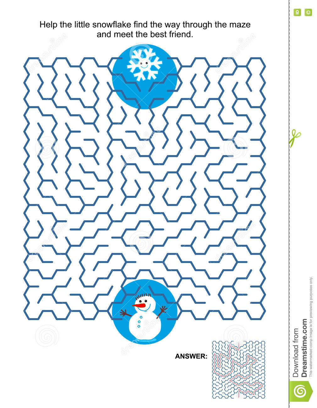 Maze Game With Snowflake And Snowman Stock Vector - Illustration of ...