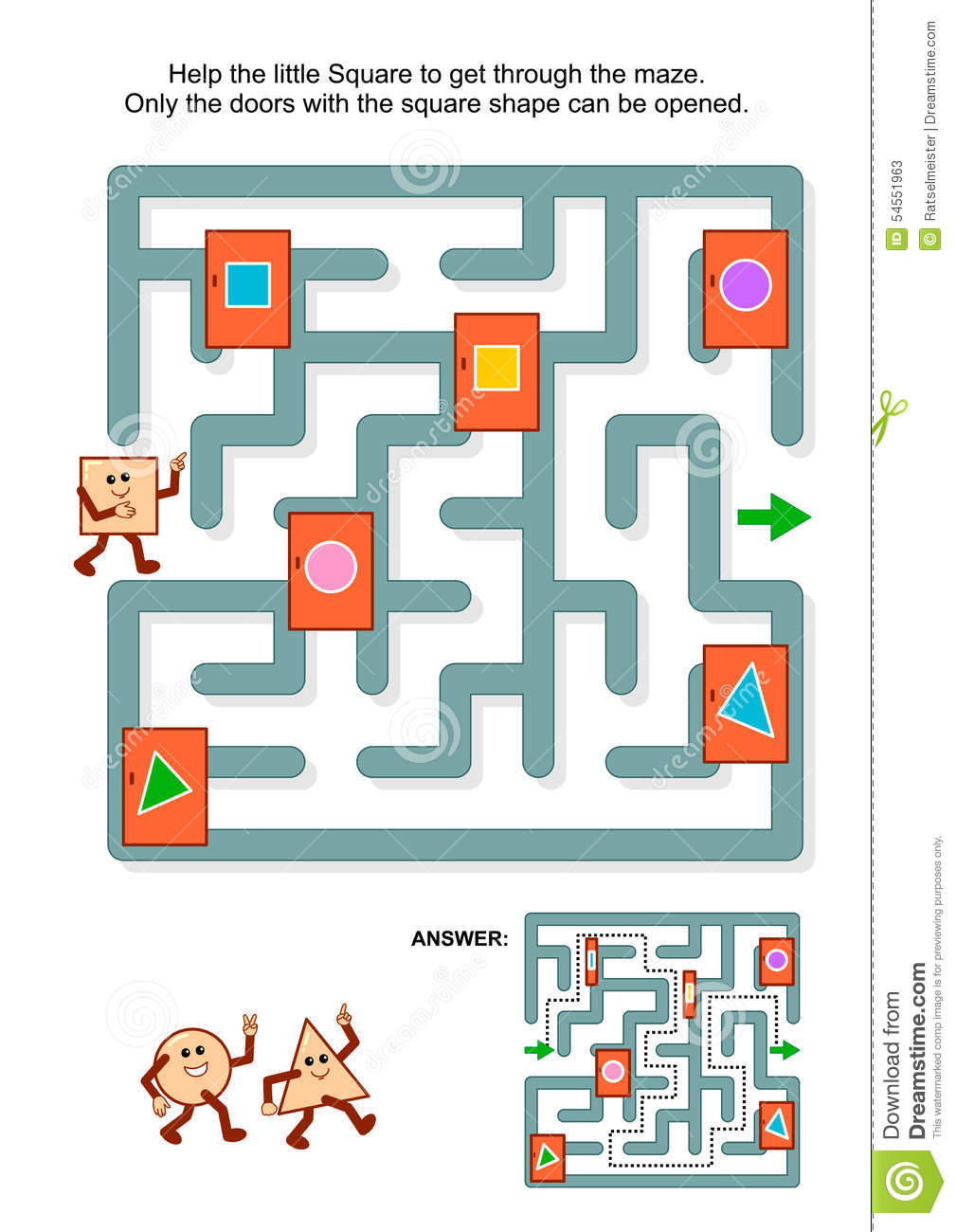 Maze Game With Square And Marked Doors Stock Vector - Illustration ...