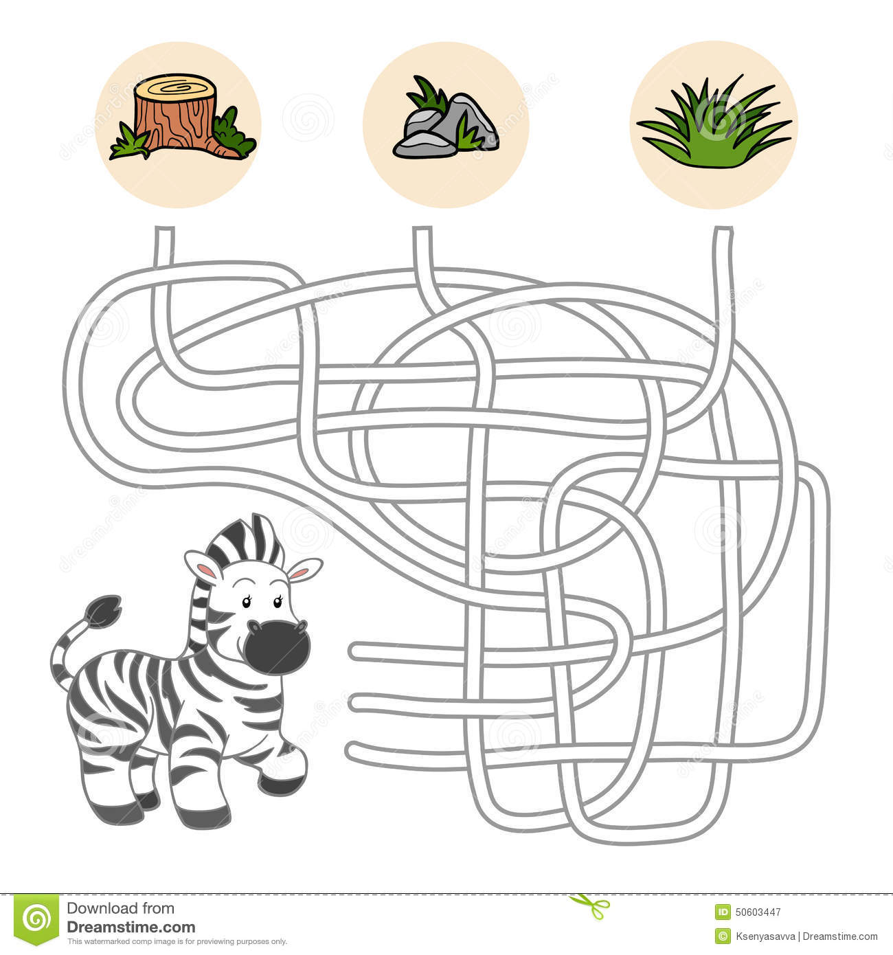 Maze game for children (zebra).