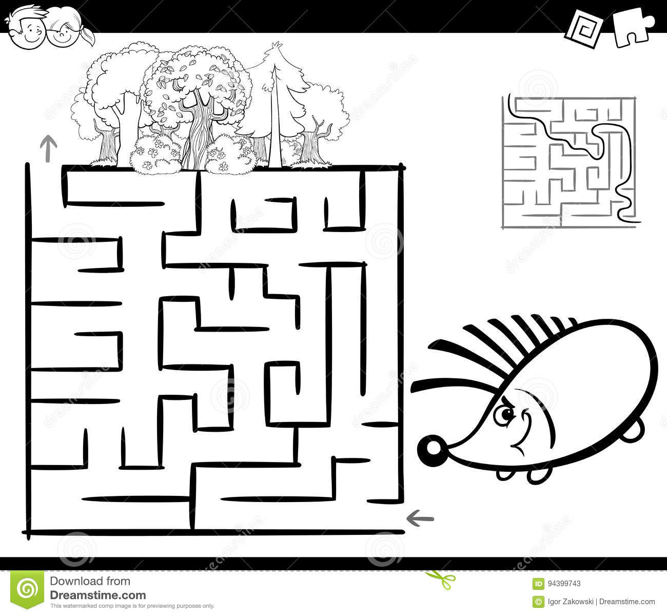 Maze With Hedgehog Coloring Page Stock Vector - Illustration of path ...