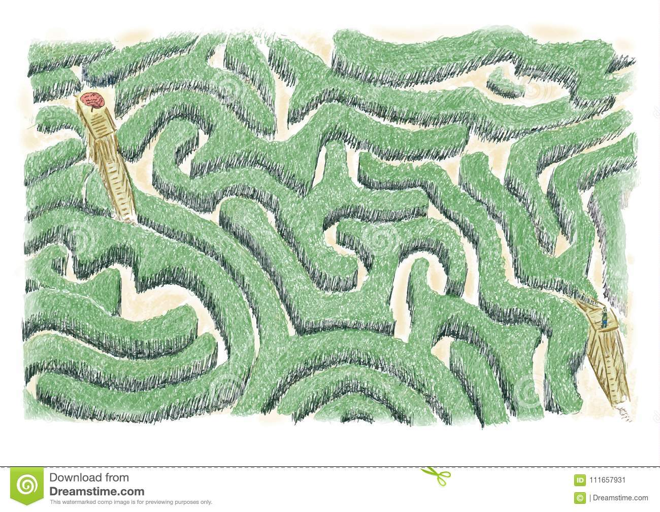 Maze of ideas.Concept of maze to be crossed to find the ideas, oneself and to check with the foreground of the brain.