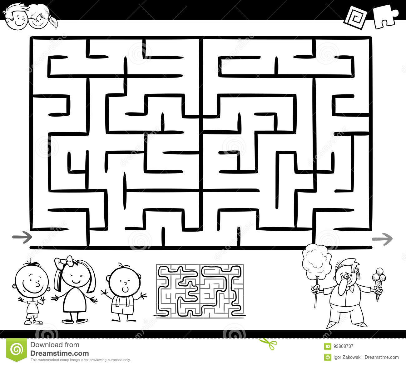 maze or labyrinth game coloring page stock vector image 93868737