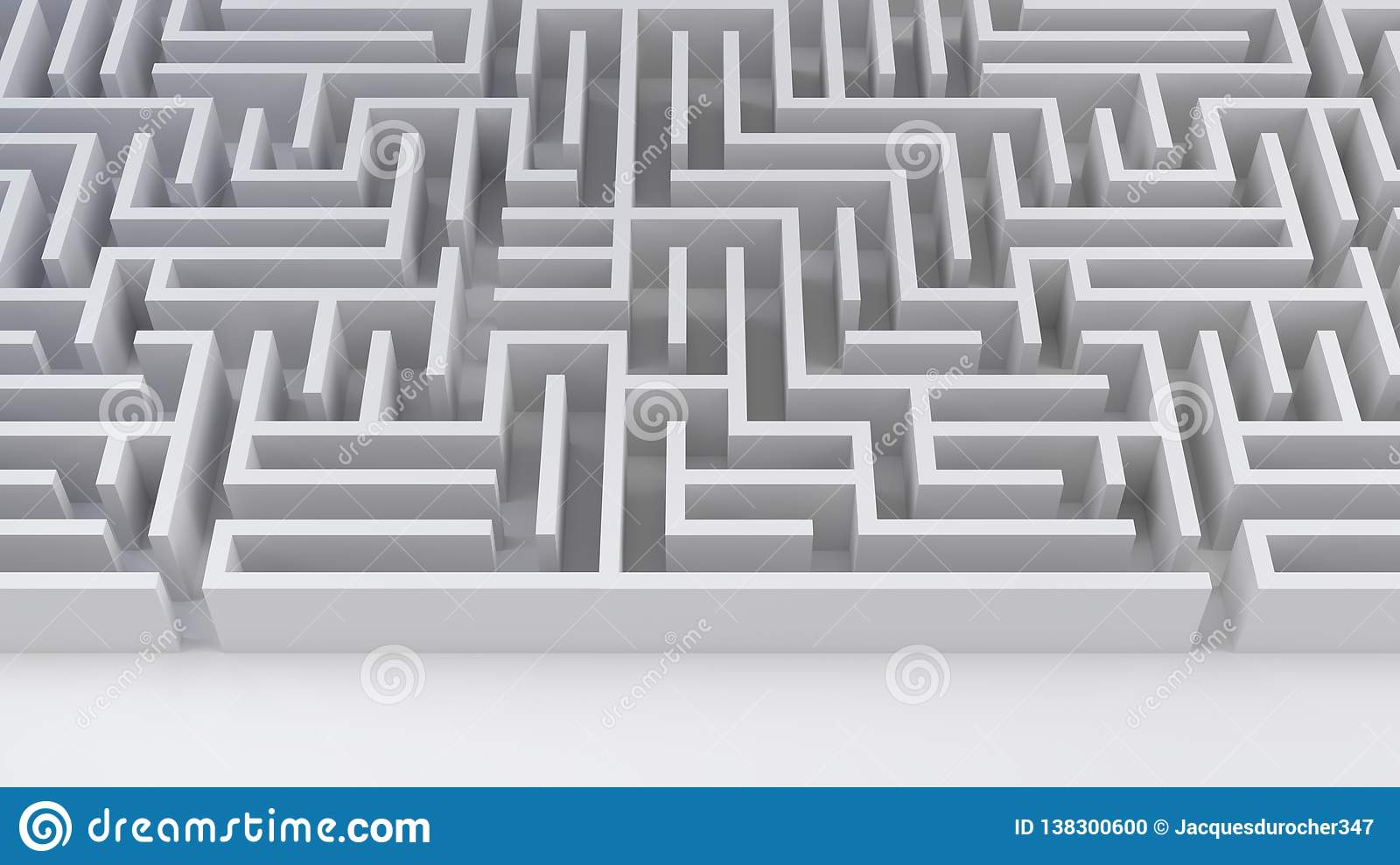 Maze labyrinth problem and solution business strategy success difficulty 3D illustration