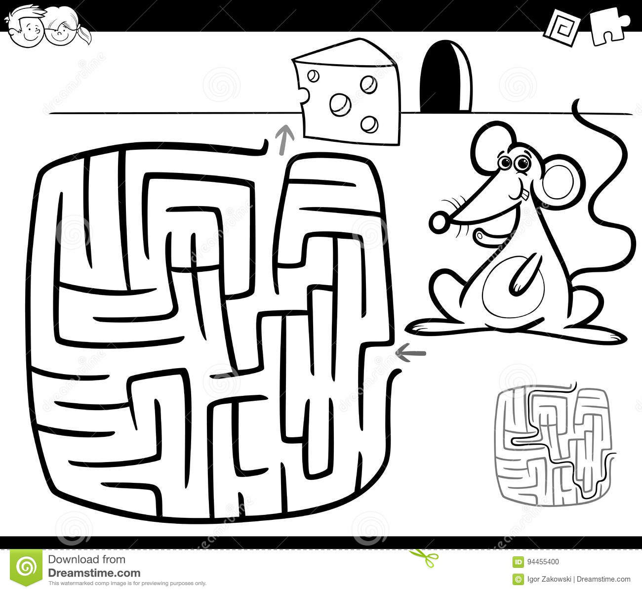 Maze with mouse coloring page stock vector illustration of