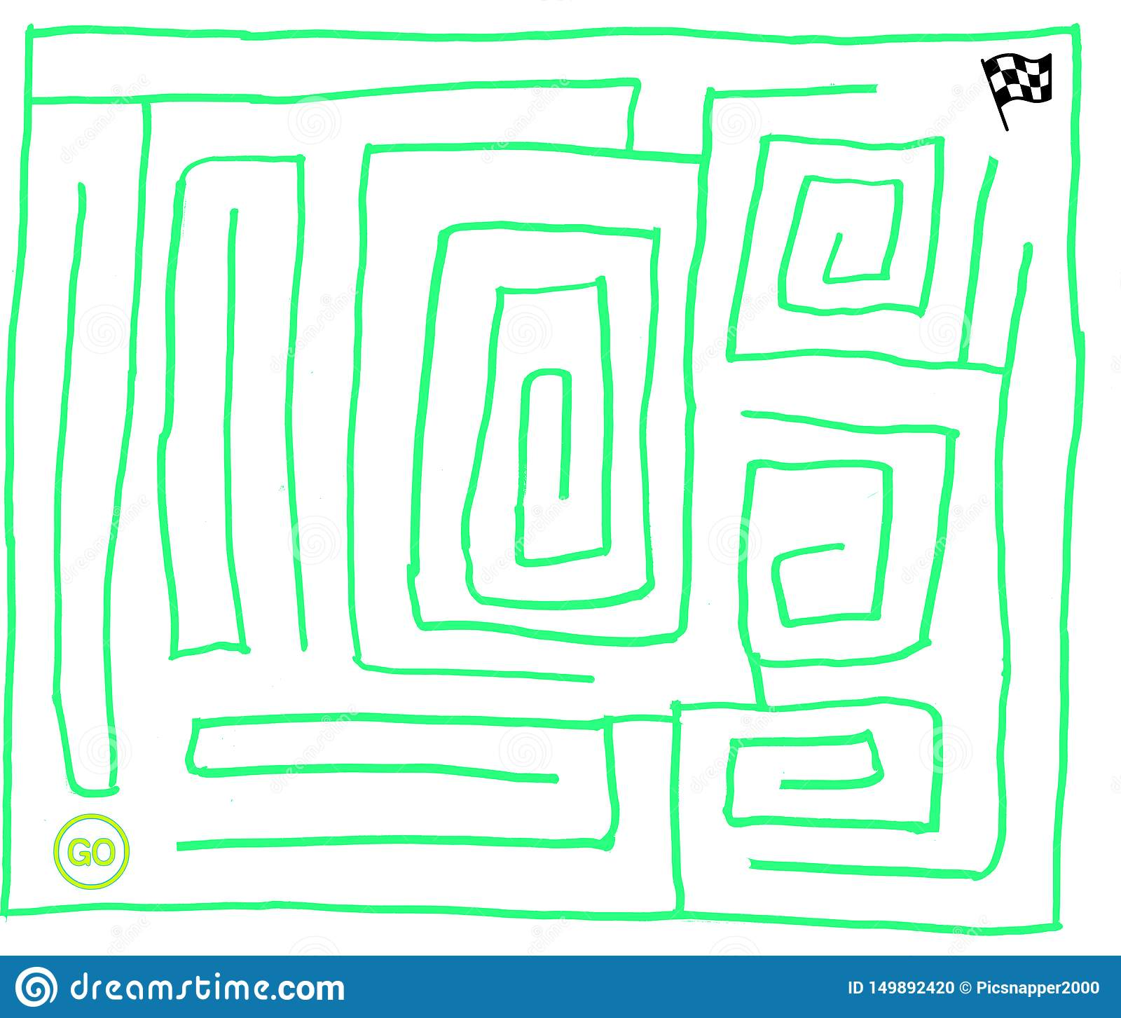 Maze number seven, very easy, fluorescent green, vector graphic